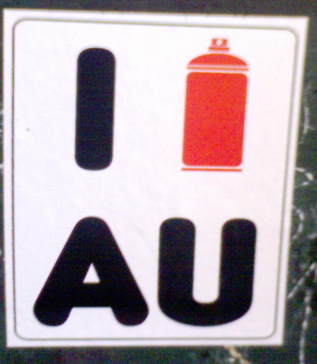Photo of 'I spray AU sticker' taken near Camberwell Railway Station, Victoria, Australia